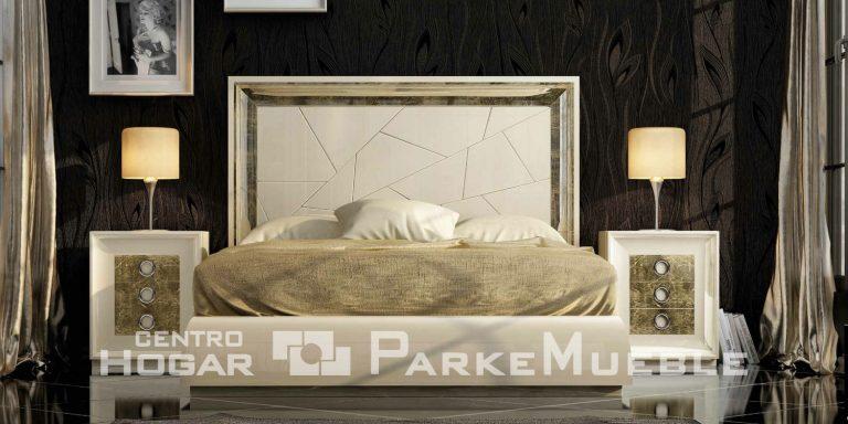 Dormitorio blanco y dorado