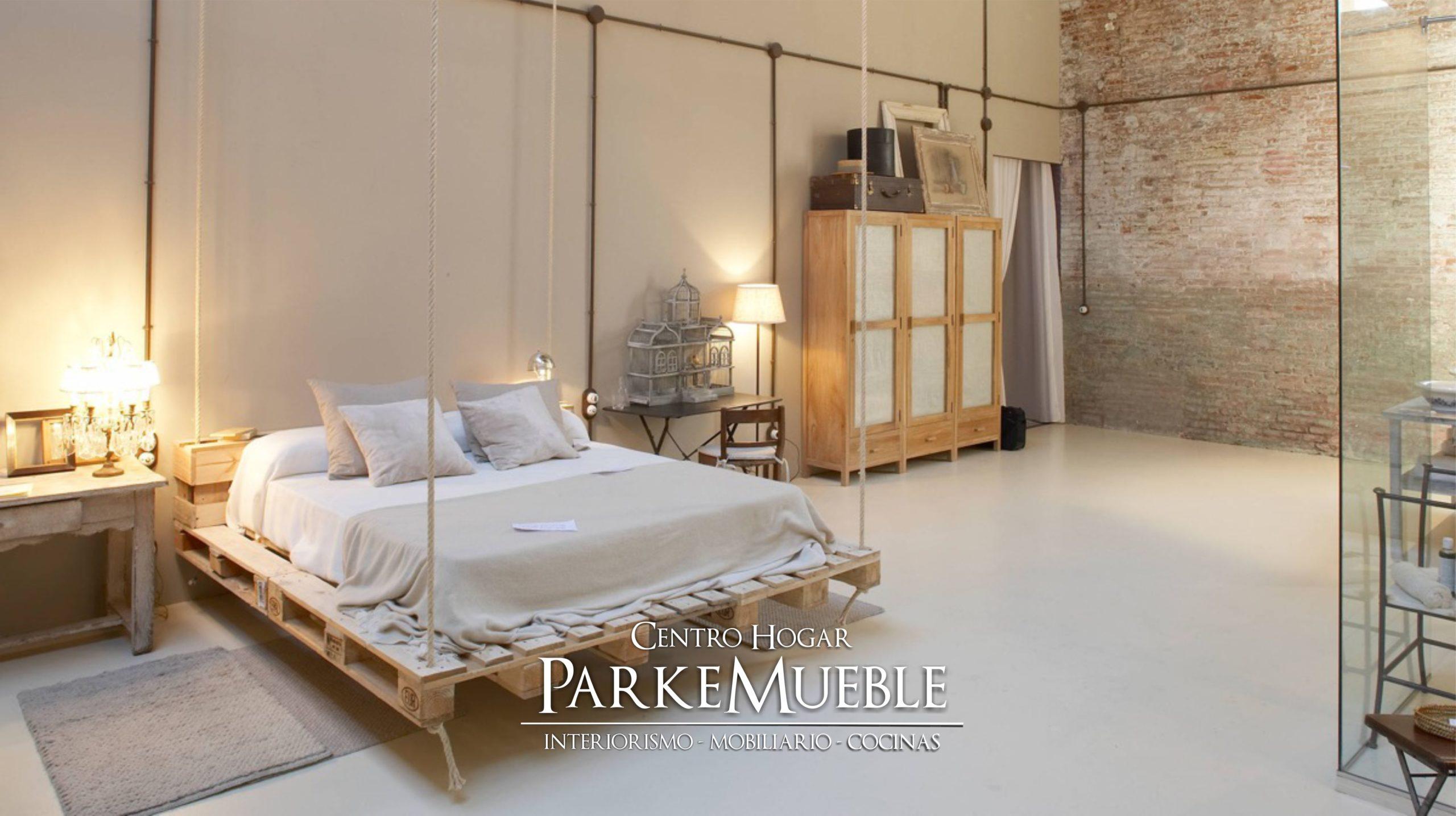 dormitorio industrial blanco cama colgante