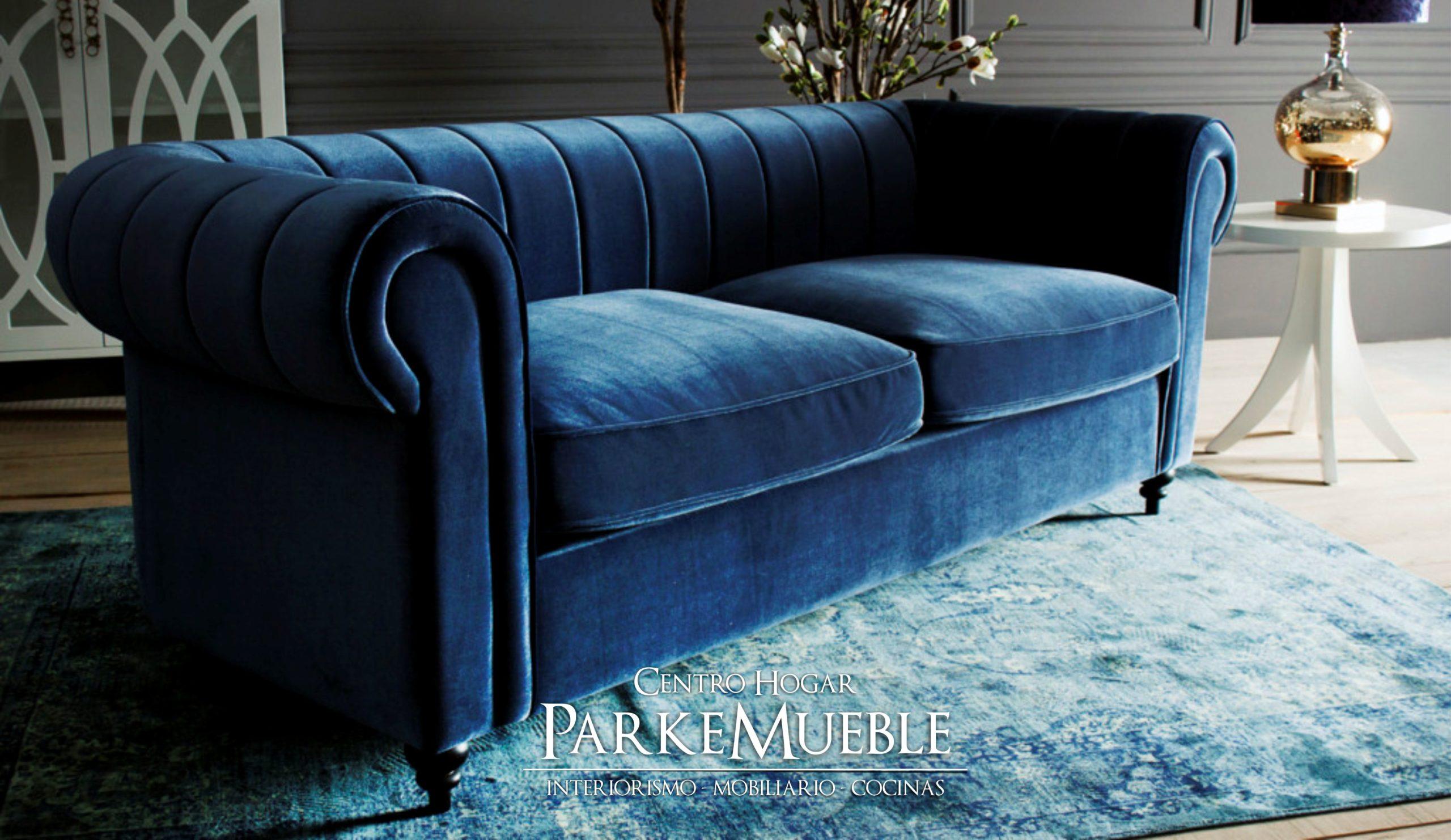 sofa terciopelo azul modernp
